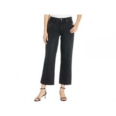 Paige Nellie Culotte Jeans w Crossed Back Belt Loops and Raw Hem in Black Sand
