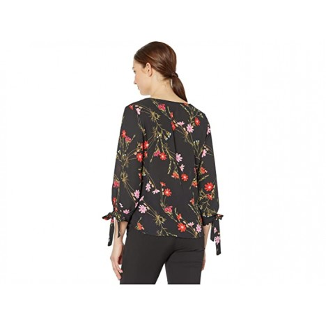 CeCe 3 4 Sleeve Enchanted Wildflower Blouse with Tie Sleeves