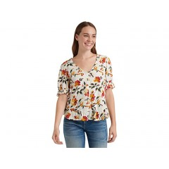 Lucky Brand Short Sleeve V-Neck Floral Peasant Top