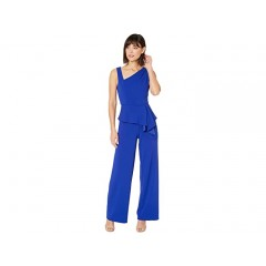 Adrianna Papell Asymmetrical Jumpsuit with Charmuese Bodice