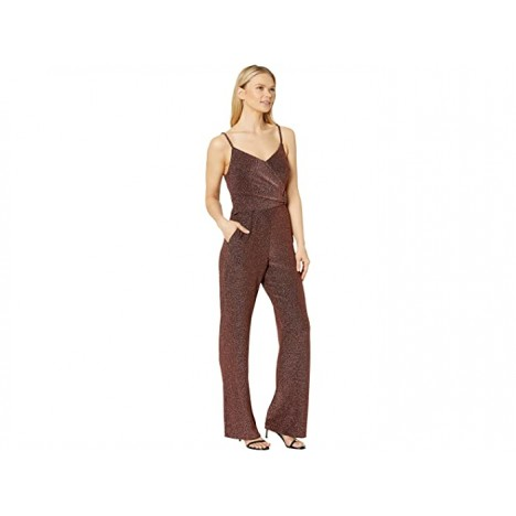 Donna Morgan Metallic Stretch Knit Faux Wrap with Covered Buckled Wide Leg Jumpsuit